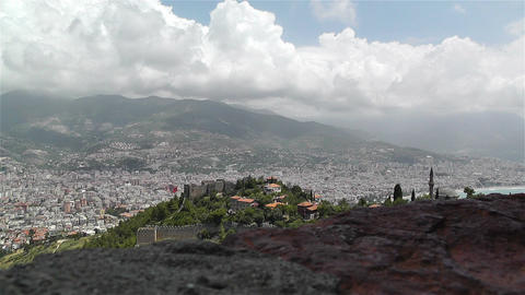 Alanya Turkey 43 aerial from alanya castle Stock Video Footage