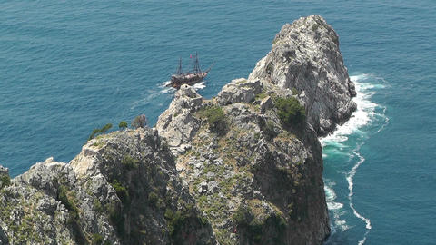 Alanya Turkey 47 aerial from alanya castle Stock Video Footage