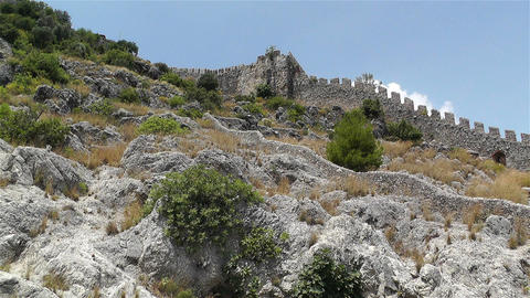Alanya Turkey 55 castle wall Stock Video Footage