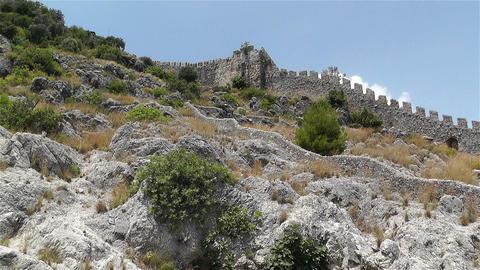 Alanya Turkey 55 castle wall Stock Video Footage
