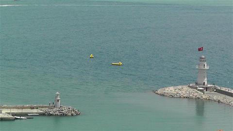 Alanya Turkey 58 aerial sea lighthouse Stock Video Footage