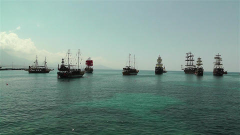 Alanya Turkey 101 ships Stock Video Footage