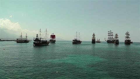 Alanya Turkey 101 ships Stock Video Footage