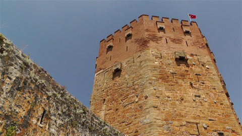 Alanya Turkey 113 red bastion Stock Video Footage