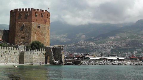 Alanya Turkey 127 red bastion Stock Video Footage