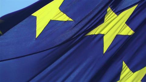 European Union Flag 1 native slow motion Stock Video Footage