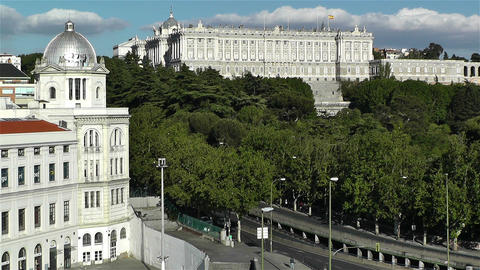 Madrid Spain Principe Pio and Royal Castle Footage