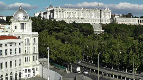 Madrid Spain Principe Pio and Royal Castle Stock Video Footage