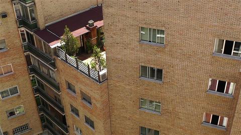 Mediterranean Block of Flats inner courtyard Stock Video Footage