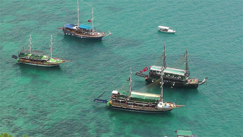 Mediterranean Sea 5 ships Footage