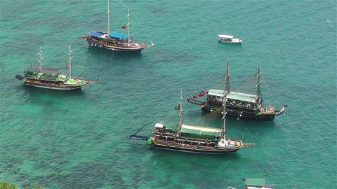 Mediterranean Sea 5 ships Stock Video Footage