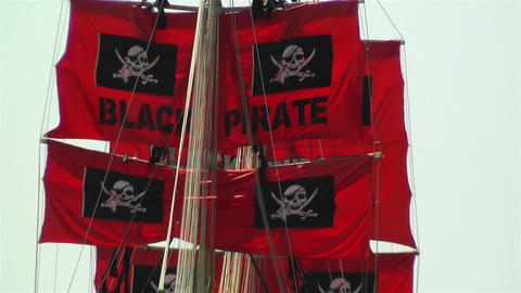 Pirate Flags on Ship Stock Video Footage