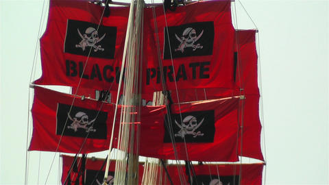 Pirate Flags on Ship Footage