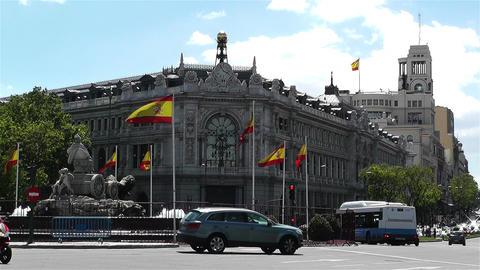 Plaza De Cibeles Madrid Spain Bank of Spain 8 Stock Video Footage