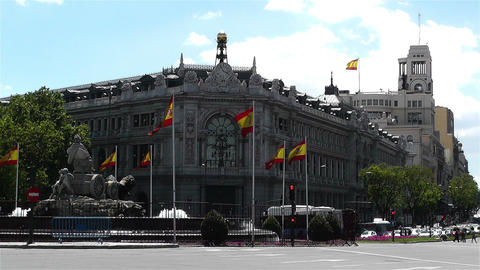 Plaza De Cibeles Madrid Spain Bank of Spain 8 Footage