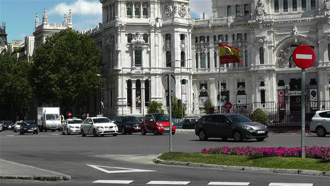 Plaza De Cibeles Palacio De Comunicaciones 4 Stock Video Footage