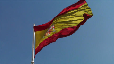 Spanish Flag native slowmotion 1 Stock Video Footage