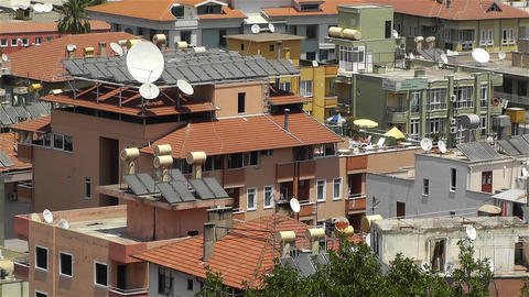 Sun Collectors and Water Tank in Turkey 2 Stock Video Footage