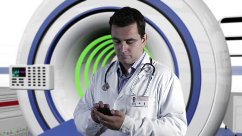 Young Doctor Smartphone Texting Operation Room 3 Stock Video Footage