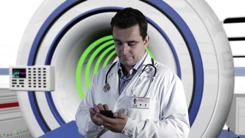 Young Doctor Smartphone Texting Operation Room 3 Footage