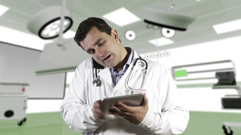 Young Doctor Tablet PC Cell Phone Operation Room 2 Footage
