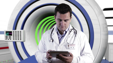 Young Doctor Tablet PC Operation Room 3 Stock Video Footage