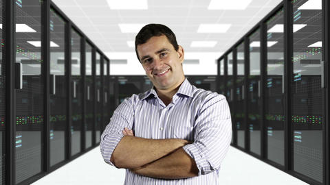 Young Man Smiling CPU Server Unit Room 1 Stock Video Footage