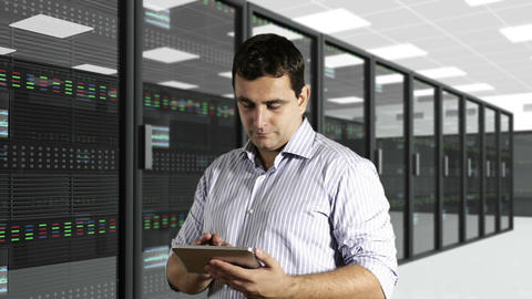 Young Man Tablet PC CPU Server Unit Room 2 Stock Video Footage