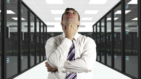 Young Man Thinking CPU Server Unit Room 1 Stock Video Footage