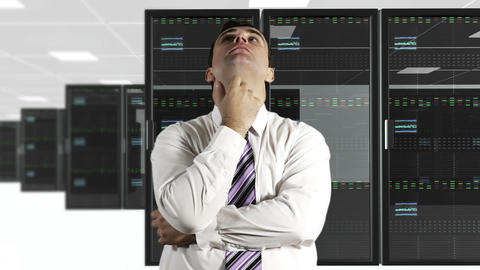 Young Man Thinking CPU Server Unit Room 3 Stock Video Footage