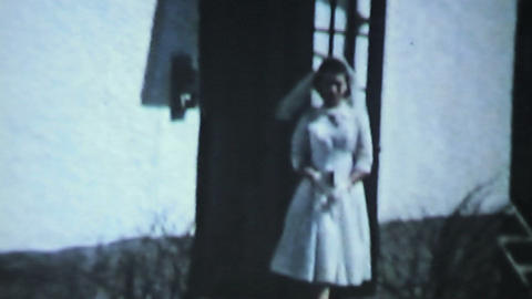 Daughter Leaving For First Communion 1958 Vintage  stock footage