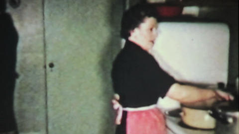 Woman Preparing Christmas Turkey Dinner 1958 Film Stock Video Footage