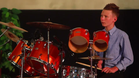 Boy Plays on Drum 7 Stock Video Footage
