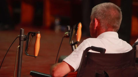 Man in Wheelchair 2 Stock Video Footage