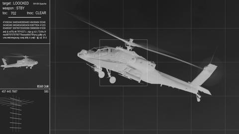 infrared Apache AH 64 Helicopter on target 11002 Stock Video Footage
