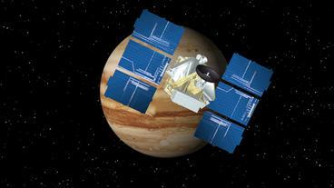Satellite Approaches Jupiter Animation
