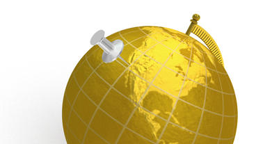 Gold globe spins, pin lands on Los Angeles Stock Video Footage