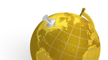 Gold globe spins, pin lands on New York Animation