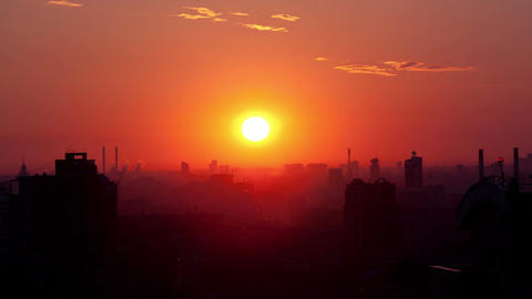 Sunrise over the city. Time lapse Stock Video Footage