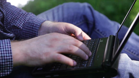 Detail of hands and keyboard Stock Video Footage