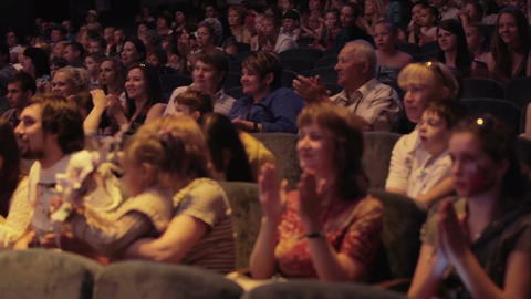 Audience applauded in theater or in cinema Stock Video Footage