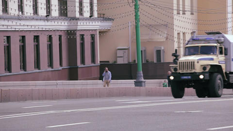 Police trucks and cars rides in Moscow Footage