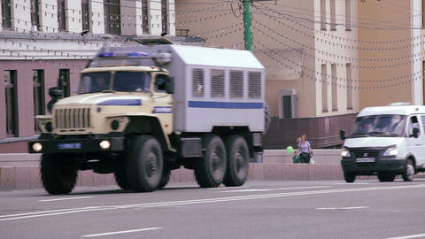 Police trucks and cars rides in Moscow Stock Video Footage