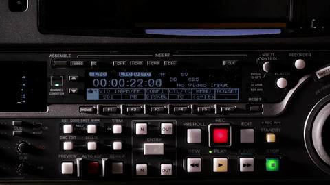 Recording tape on the professional video recorder Footage
