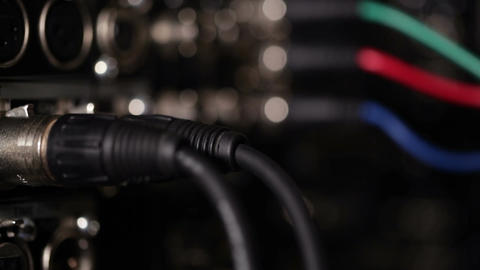 Focus pulling from rgb video cables to audio xlr c Stock Video Footage