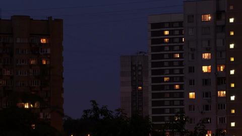 Buildings at night 1 Footage