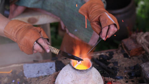 Glass artist in his workshop 3 Footage