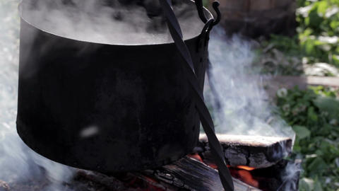 Steel vat with boiling water 2 Stock Video Footage