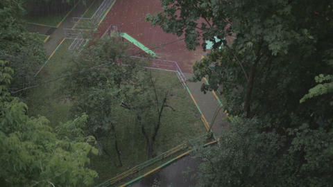 Heavy rain. High angle view from window 1 Stock Video Footage