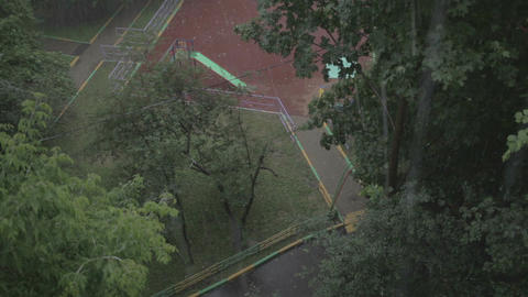 Heavy Rain. High Angle View From Window 1 stock footage